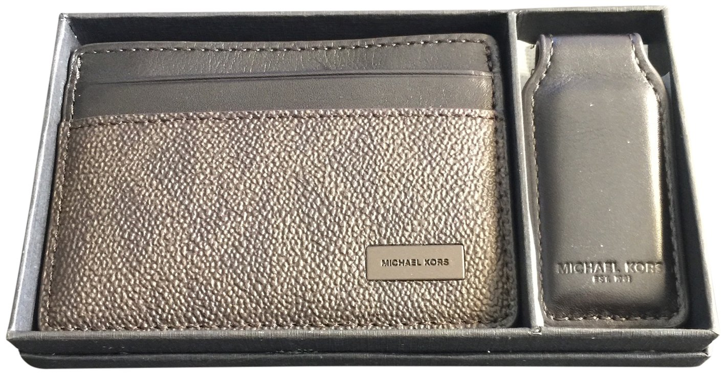 Michael Kors Men's Logo Card Case Wallet Money Clip Gift Set Brown