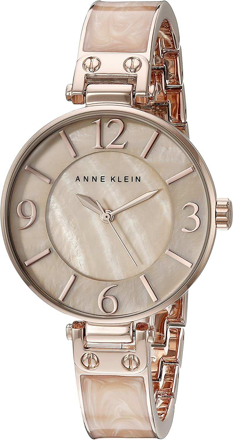 Anne Klein Women's AK/2210BMRG Rose Gold-Tone and Pink Marbleized Bangle Watch
