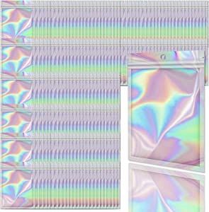 Allstarry 200 Pieces Holographic Foil Pouch Bags Resealable Smell Proof Zip Lock Sealing Aluminum Bag Plastic Packaging Foil Bags for Coffee Beans Jewelry Food Storage (4 * 6 Inch)