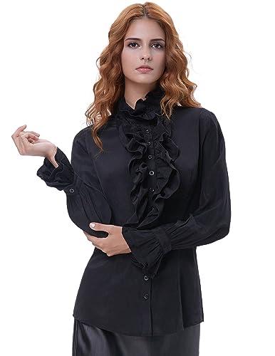 Kate Kasin®Blusa con Volantes Gótica Elegante Abotonado Color Negro Manga Larga Suelta 721