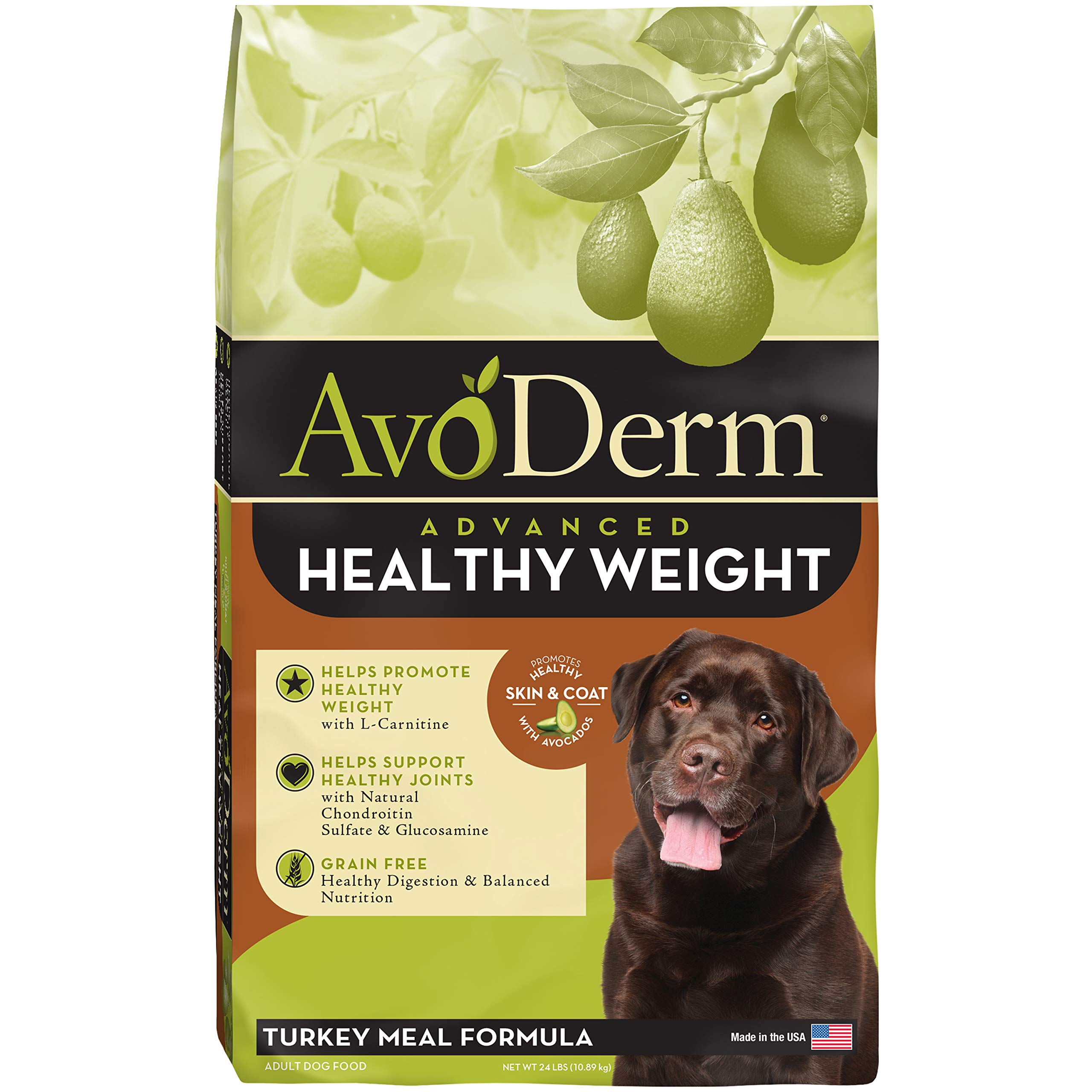AvoDerm Natural Advanced Healthy Weight Dry Dog Food, Grain Free with L-Carnitine, Turkey Formula, 24-Pound by AvoDerm