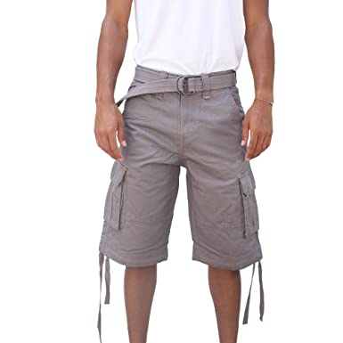 La Gate Mens Big and Tall Belted up to size 50 Cargo Short ...