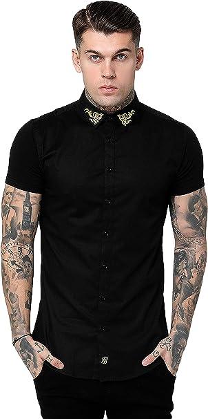 Sik Silk SS-15197 Venetian Collar Half Sleeve Shirt - Black: Amazon.es: Ropa y accesorios