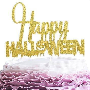 Superb Happy Halloween Cake Topper Gold Glitter Spooky Pumpkin Cake Funny Birthday Cards Online Fluifree Goldxyz