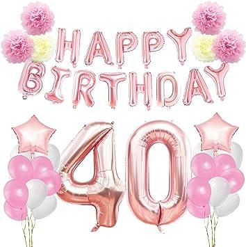 Preferenza KUNGYO Rosa Oro Buon Compleanno Decorazioni Kit per 40 Anni Rose NN35