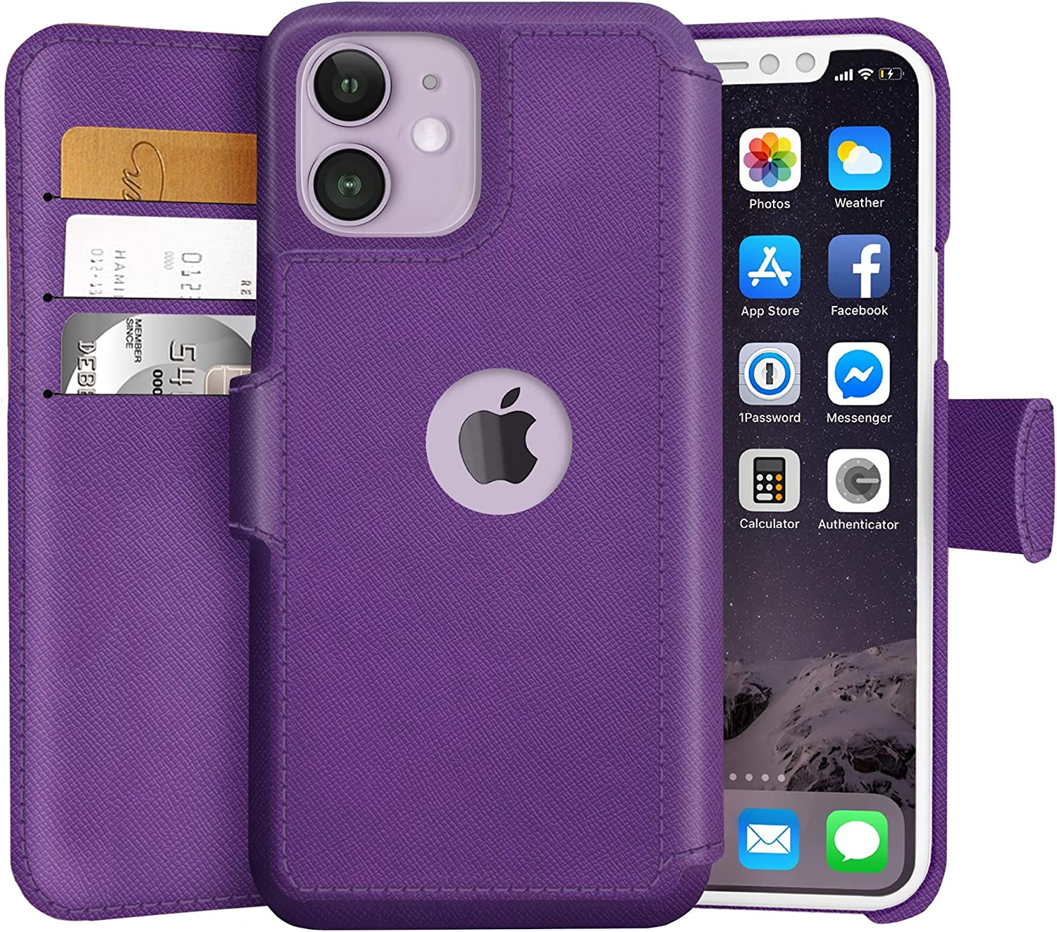 LUPA iPhone 11 Wallet Case -Slim iPhone 11 Flip Case with Credit Card Holder, for Women & Men, Faux Leather i Phone 11 Purse Cases with Magnetic Closure, Purple