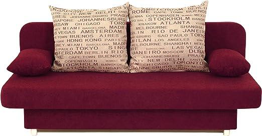 186x85 cm Collection AB Schlafsofa Orlando-PUR Mikrofaser Rot-Grau