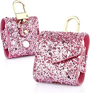 KuToo Replacement for AirPods Case, Magnetic Closure Leather Cover with Anti-Lost Keychain Glitter Bling Sparkle Leather Sleeve Skins Case for Apple AirPods Wireless Earphone (3D Glitter Pink)