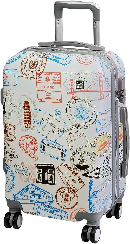 A2s Equipaje cabina maleta ligera y duradera maleta de cáscara dura con 8 ruedas giratorias llevar bolso (aviones) Sellos mundiales 55x35x20cm