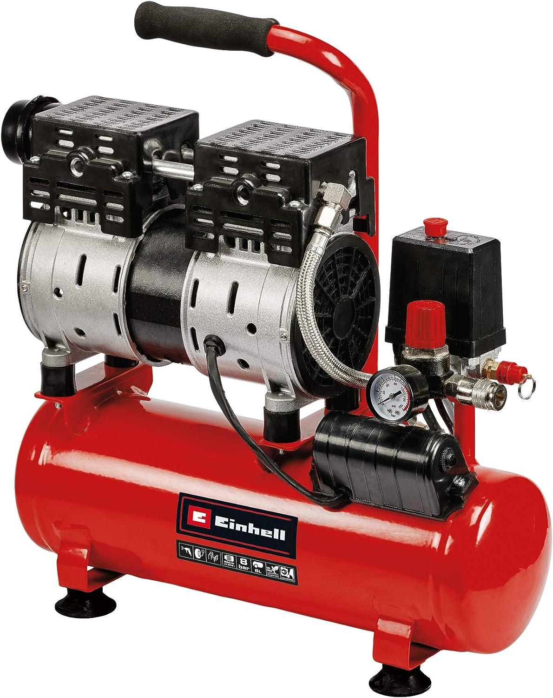 Einhell Compresor TE-AC 6 Silent (compresor silencioso con 550 W, máx. 8 bar, motor exento de aceite y servicio, depósito de 6 l, manómetro y acoplamiento rápido, válvula de seguridad)