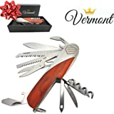Swiss Army Style Pocket Knife by Vermont - 15-in-1 Multi-tool Stainless Steel with Wood Body. Tactical, Survival, Hiking, Hunting, and Camping. Great Training Gifts for Boy Scouts.