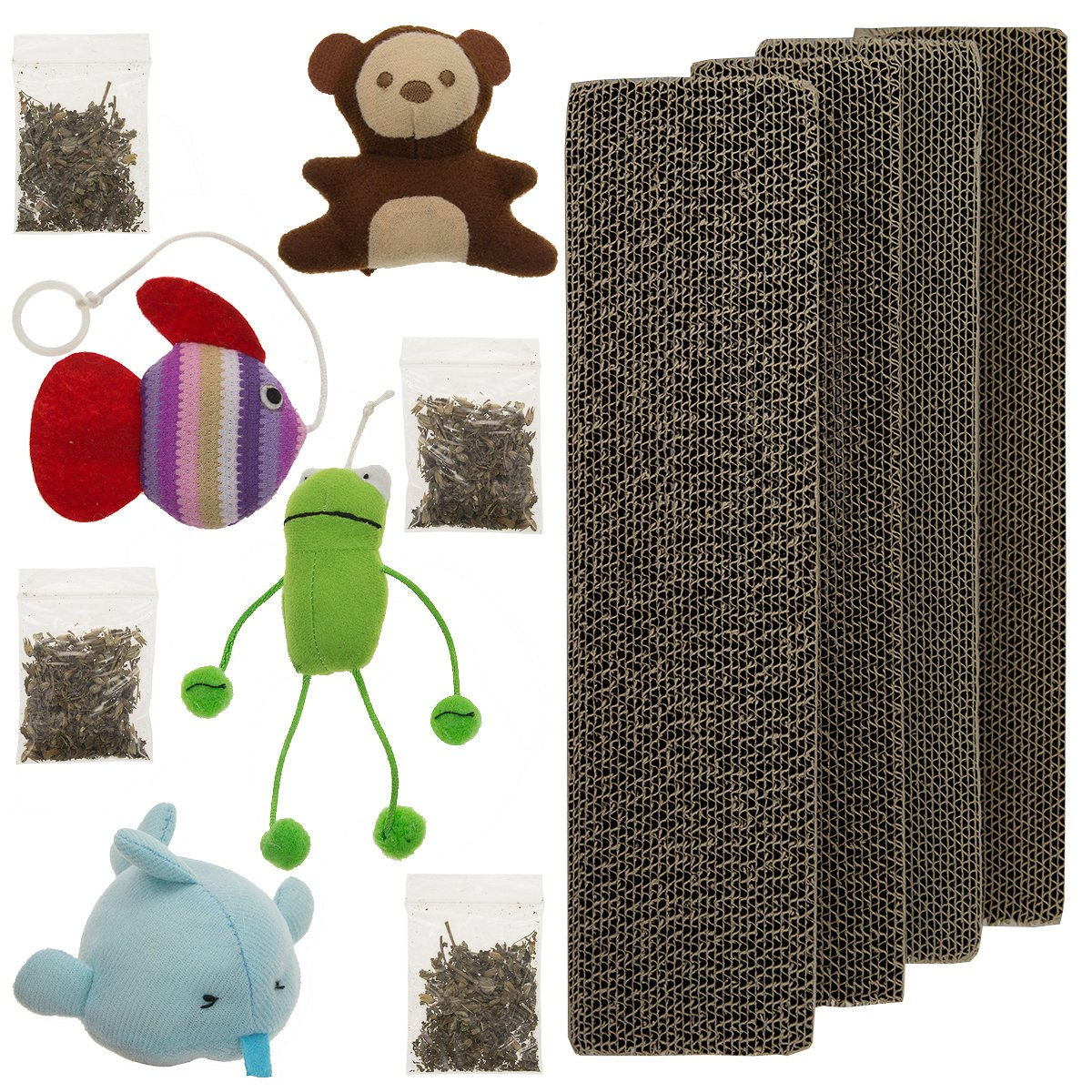 4 Master Paws Corrugated Cardboard Cat Scratching Post Refill Pads With Catnip & Set of Toys