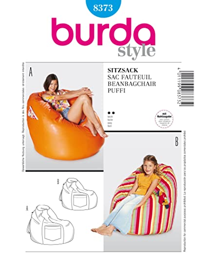 Amazon.com: BURDA DECO 8373 BEAN BAG CHAIRS in 2 SIZES SEWING ...