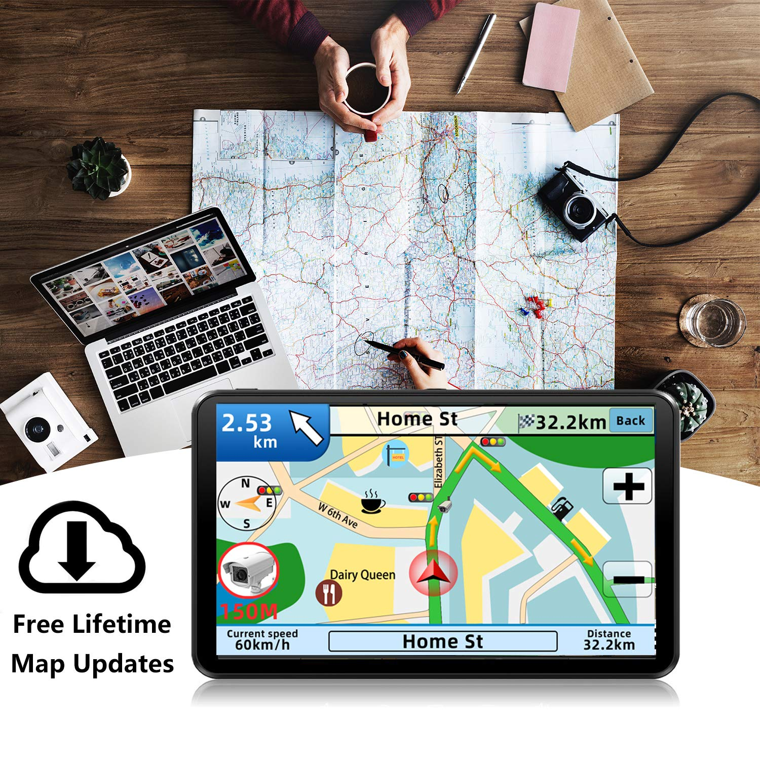 GPS Navigation for car,7 Inch GPS Navigation System, 8GB 256MB Car Navigation, Touch Screen Real Voice Direction 2019 Latest Maps Free Updates by Anstar (Image #3)