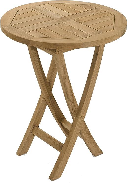Mesa redonda plegable de madera 60, grado A: Amazon.es: Jardín