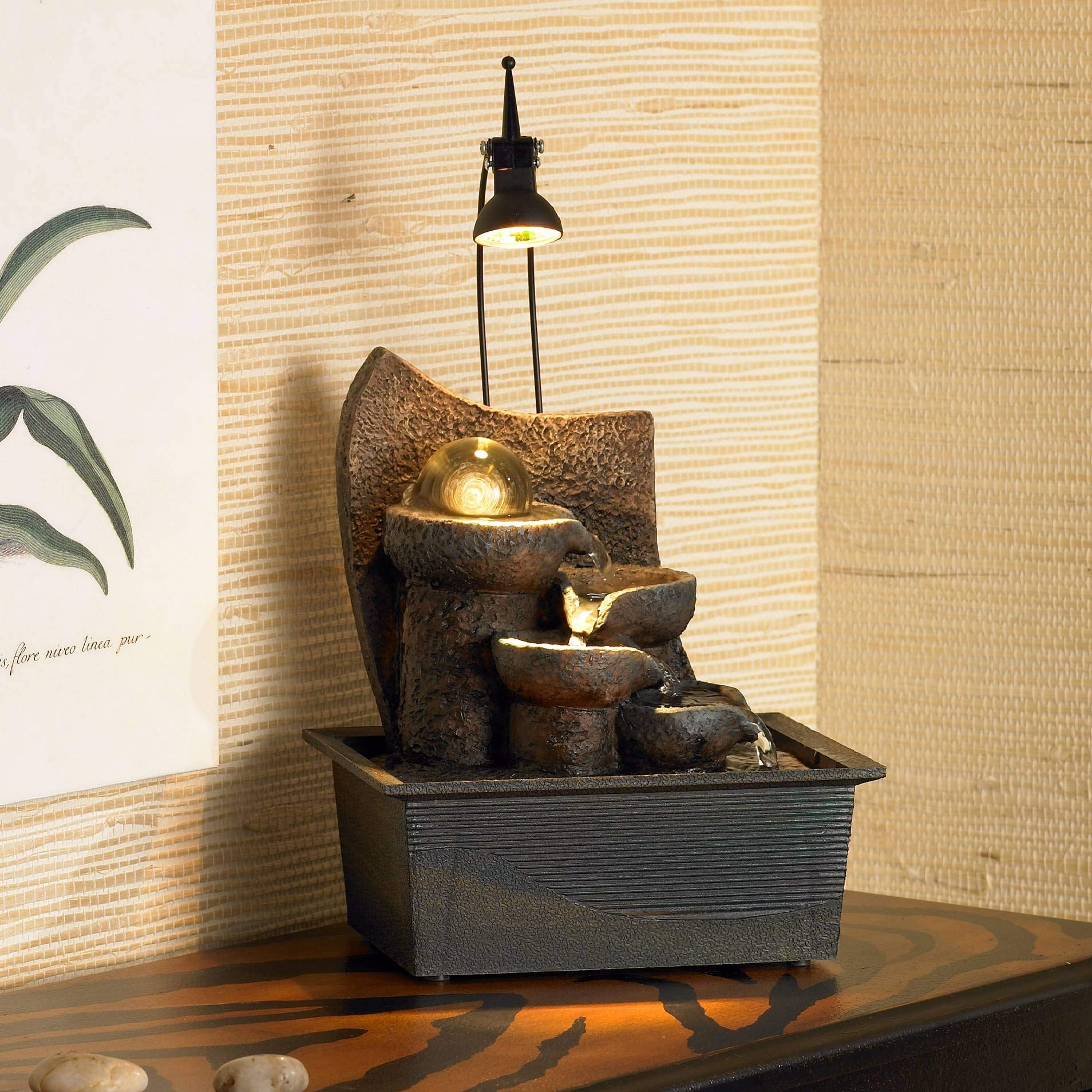 John Timberland Japanese Zen Indoor Table-Top Water Fountain with Light LED 10'' High Cascading for Table Desk Office Home Bedroom by John Timberland