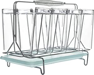 Acrylic Drinking Glasses Set - Set of 8 Glasses Unbreakable Includes Drink Caddy with Handle and Removable Drip Tray for Easy Cleaning