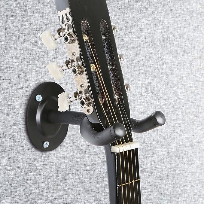2 pcs guitarra perchas soporte de pared guitarra soporte para gancho de percha pantalla soporte para todos los tamaño acústica Elec: Amazon.es: Instrumentos ...