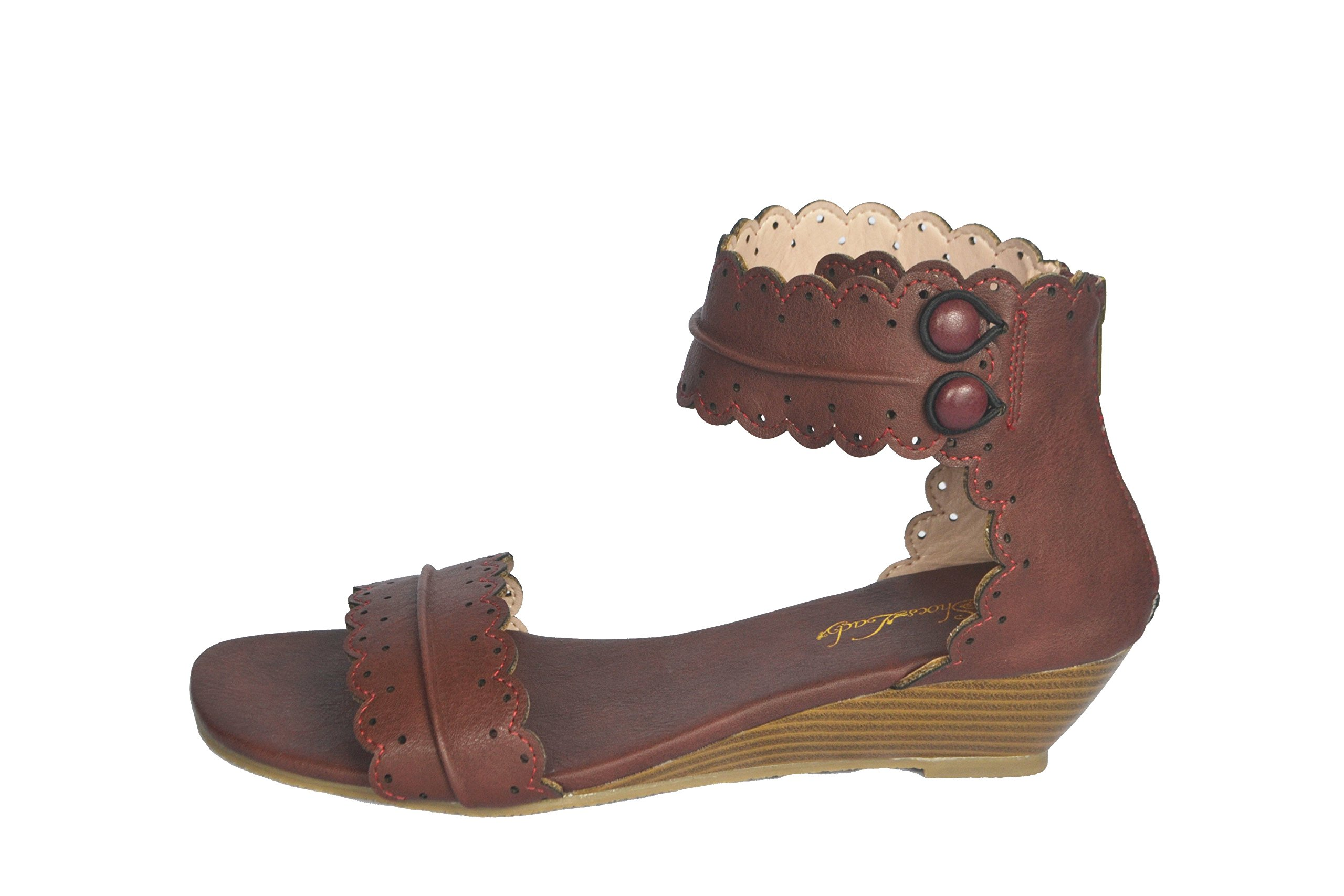 ShoesLady Midsummer Magdalena Leather Wedge Sandals with Scallop Edge (8, Brown)