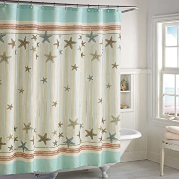 DS CURTAIN Tremiti Ocean Shower CurtainWaterproof Fabric CurtainSeashell Bathroom Curtains