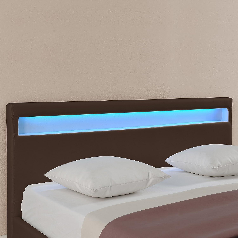 Letto imbottito Corium con illuminazione LED 140x200cm Paris bianco Letto moderno // similpelle // con rete a doghe di legno //