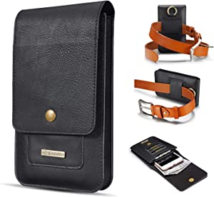 Smartphone Protective Clips Genuine Leather Holster Pouch For iPhone SE 2020 X XS XR 11 6 7 8, For Samsung S8,S9,s10e,A10e,A20e Belt Wallet Case with Clip +Card Slot, Dual Layer Universal Waist Pouch
