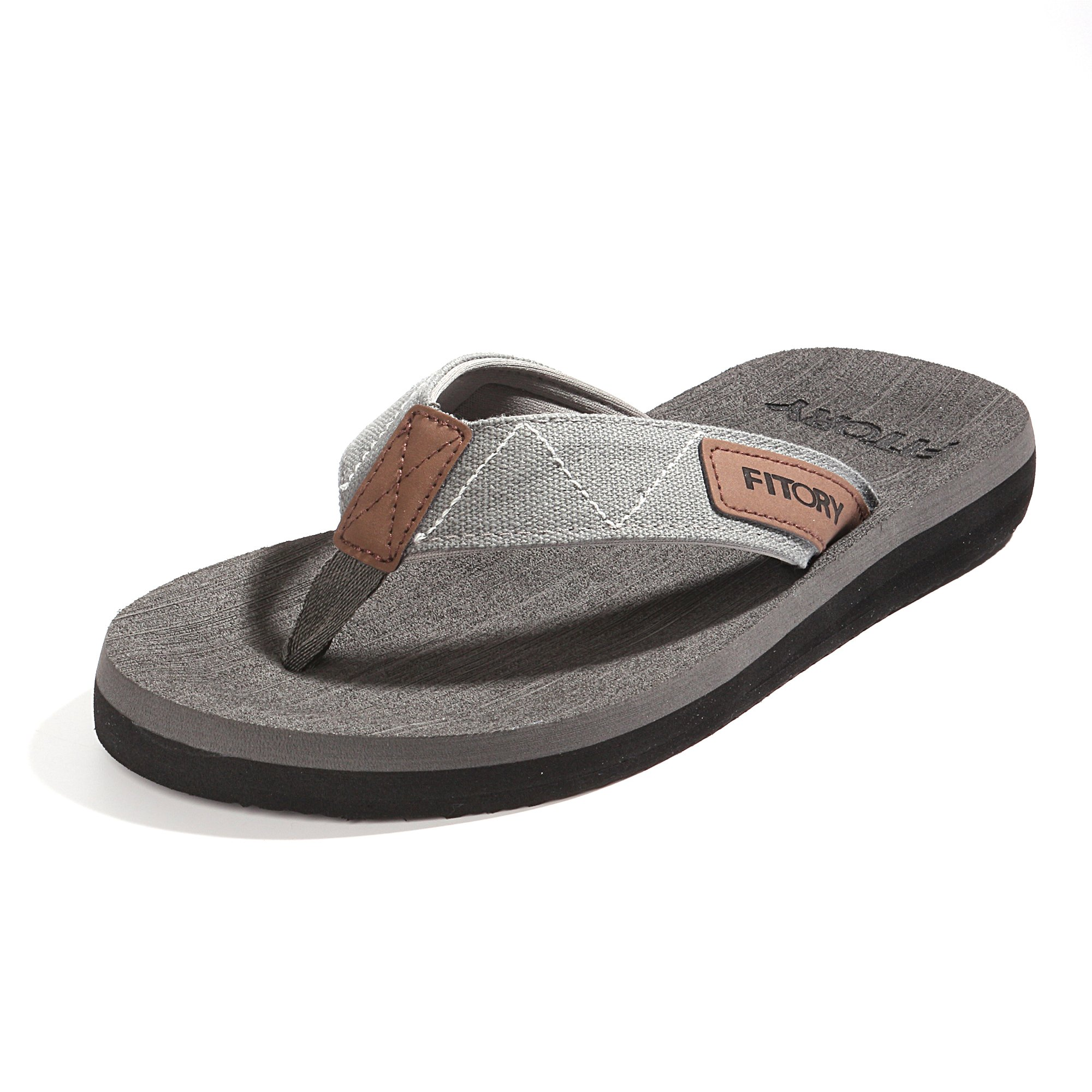FITORY Men's Flip-Flops Arch Support Thongs Comfort Slippers for Beach Size 7-13