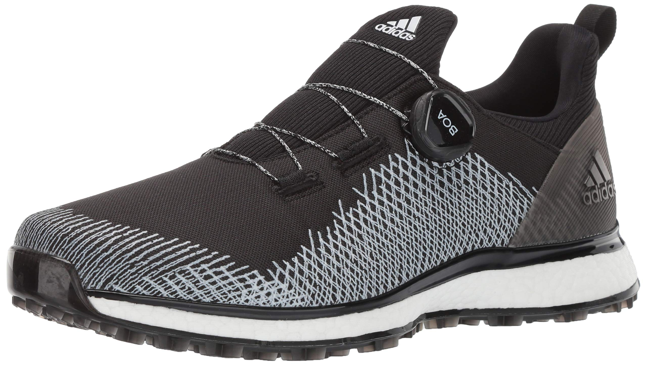adidas Men's FORGEFIBER BOA Golf Shoe core black/ftwr white/hi-res yellow 9.5 M/W US by adidas