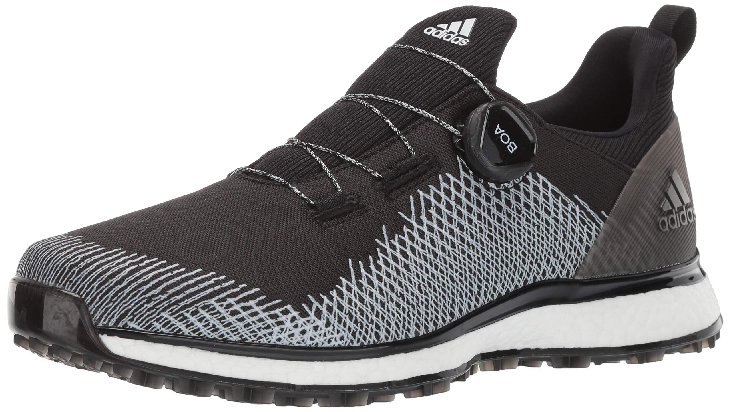 adidas Men's FORGEFIBER BOA Golf Shoe, core Black/FTWR White/hi-res Yellow, 7 M US