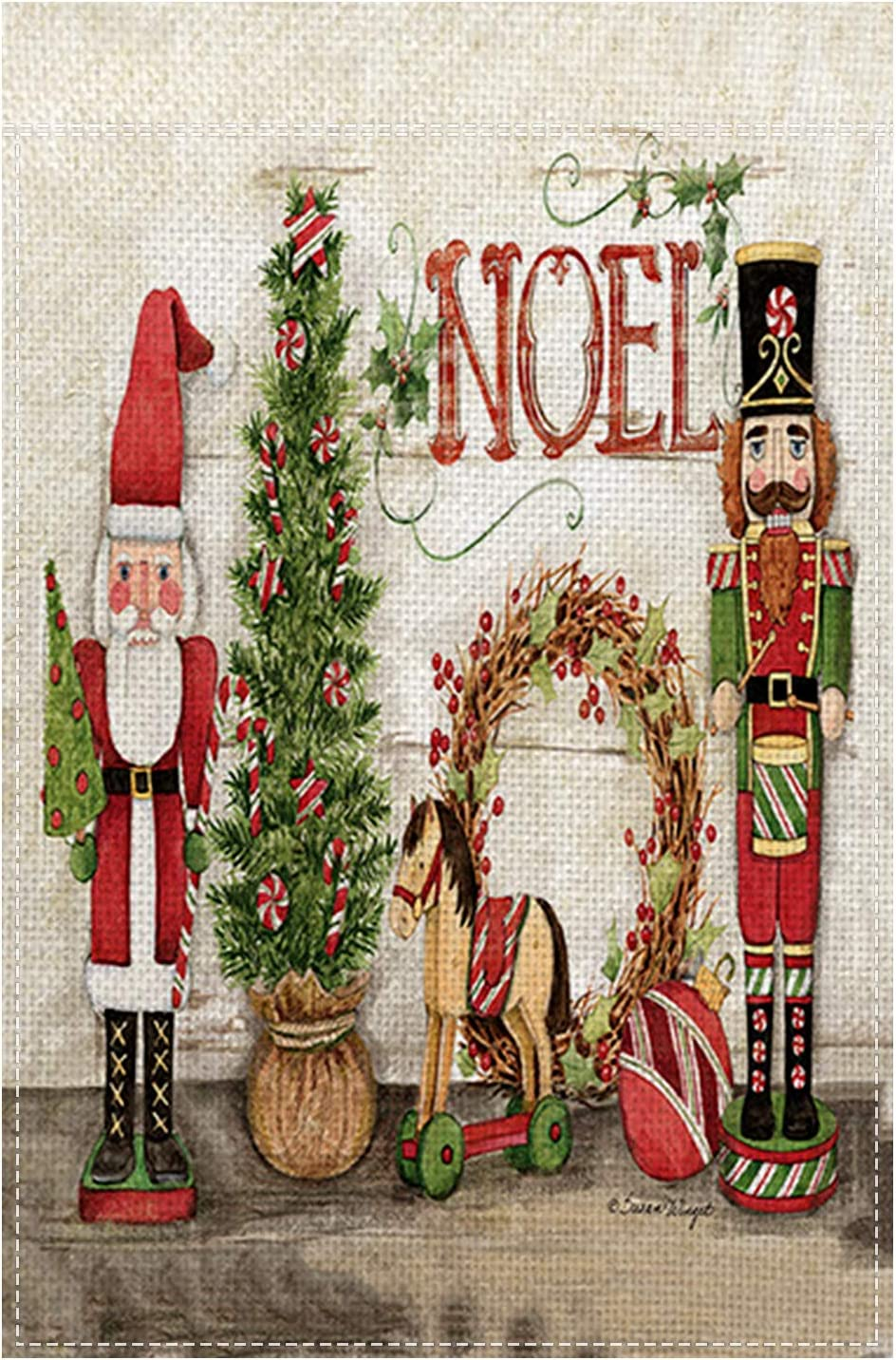 Christmas Garden Flag, 12X18 inch Holiday Nutcrackers Yard Flag Xmas Outdoor Flag Sign Noel Small Garden Banner for Winter New Year Yard Decoration Home Décor