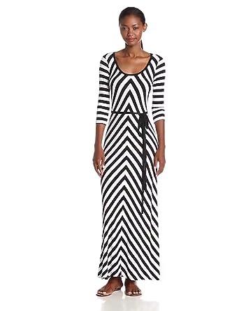 Calvin Klein Women's 3/4 Sleeve Striped Belted Maxi Dress, Black/White, 12