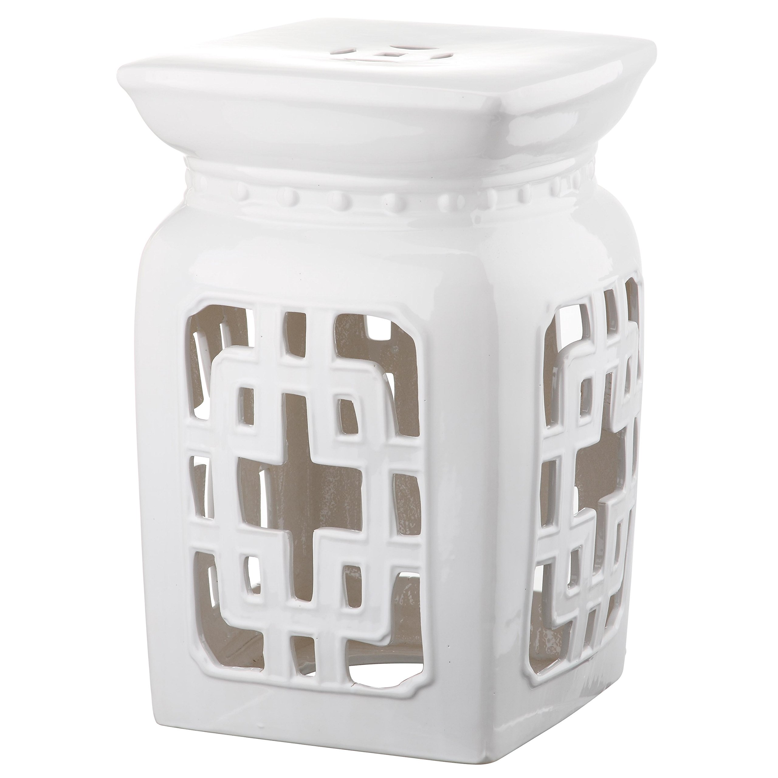 Safavieh Castle Gardens Collection Beijing Filigree Antique White Glazed Ceramic Garden Stool