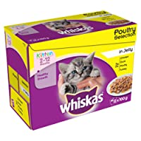 Whiskas 2 to 12 Months Kitten Pouches Poultry Selection in Jelly, 12 x 100 g