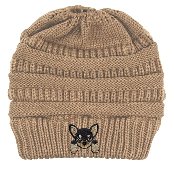 832bcef1812 Chihuahua Embroidered Puppy Dog Series Beanie - Stretch Fleece Cable ...