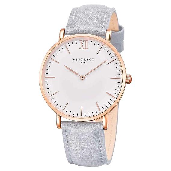 0c91c23385d District London Rose Edition - Ultra Slim Rose Gold Women s Leather Grey Band  Quartz Wrist Watch