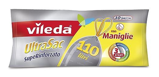 19 opinioni per Vileda UltraSac SupeRinforzato Sacchi Immondizia, 110 Litri, con Maniglie, 10