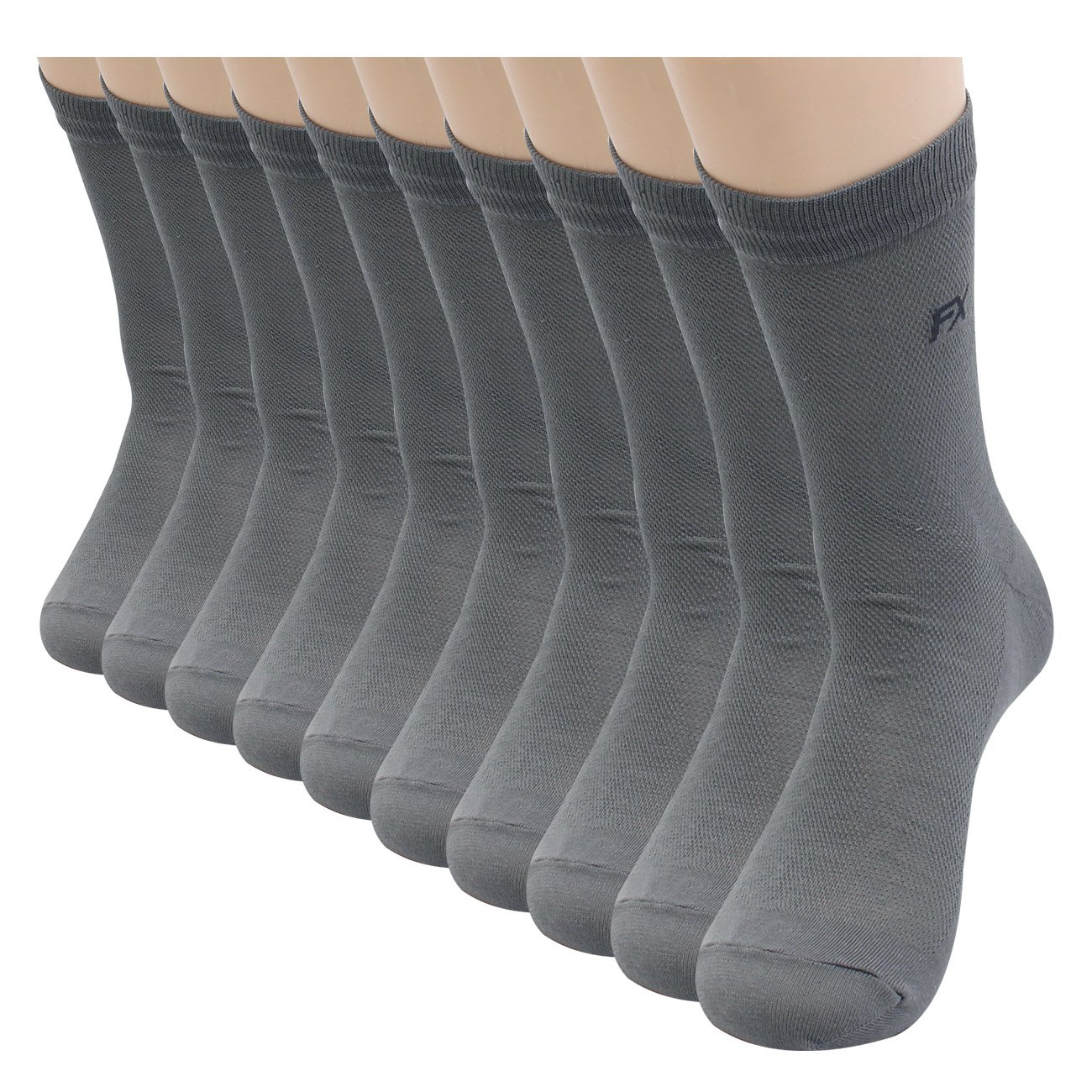 FITEXTREME DryCool Mens 8 Pairs Summer Cool Mesh Business Dress Crew Socks Grey