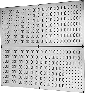 product image for Pegboard Rack Wall Control Garage Storage Galvanized Steel Horizontal Pegboard Pack - Two 32-Inch x 16-Inch Shiny Metallic Metal Peg Board Tool Organization Panels