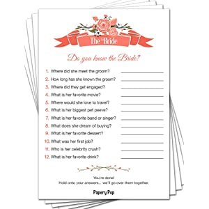 papery pop how well do you know the bride 50 sheets bridal shower