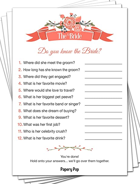 how well do you know the bride 50 sheets bridal shower games