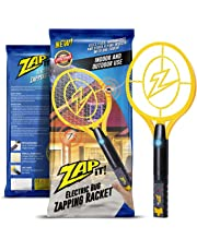 ZAP IT! Mini Bug Zapper - Electric Mosquito, Fly Killer and Bug Zapper Racket - 4000 Volt - Rechargeable Via USB, Super-Bright LED Light to Zap in the Dark - Unique 3-Layer Safety Mesh That's Safe to Touch