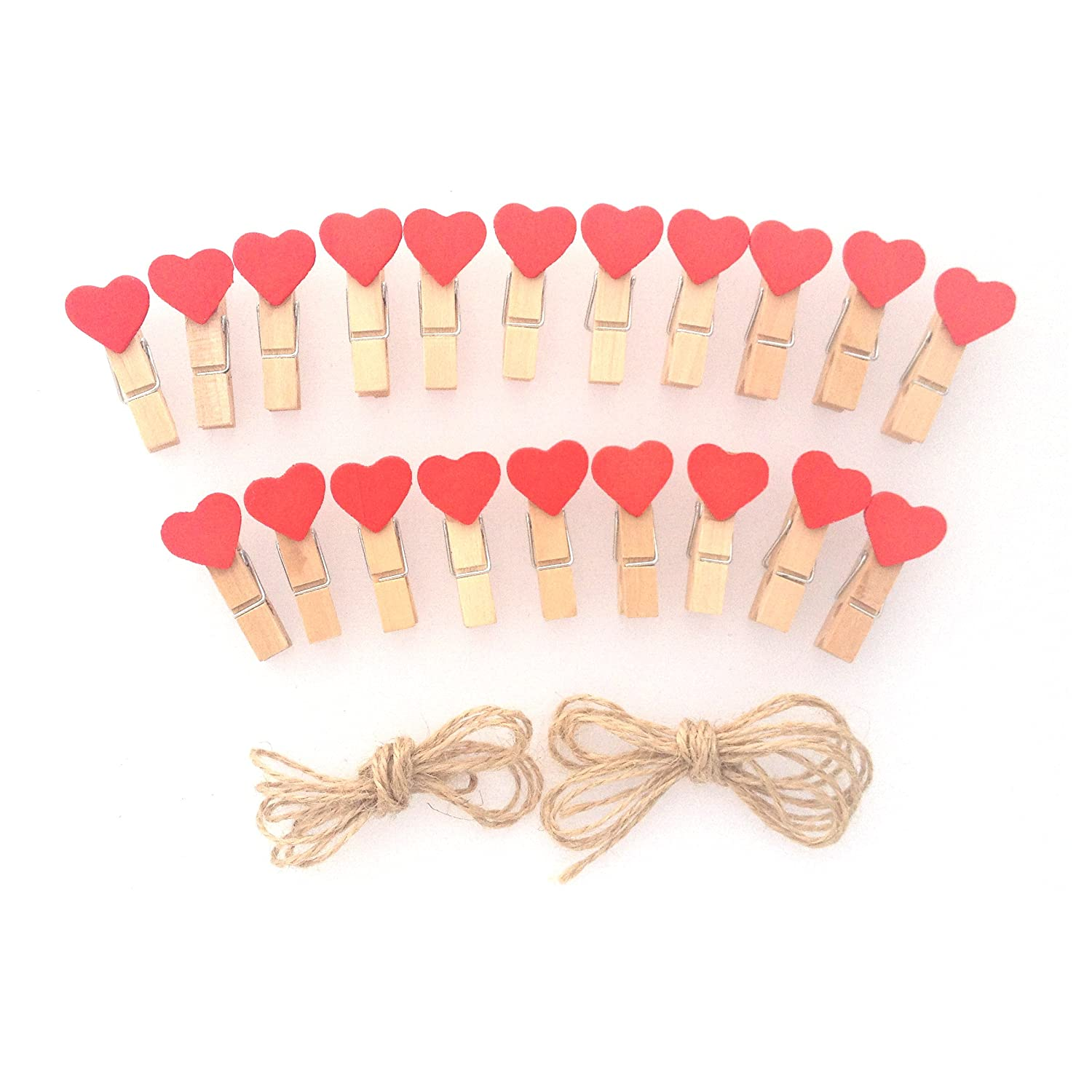 Lwr Crafts Red Heart Wooden Mini Clothespins 20 Pieces And Jute Cord 8ft by Amazon