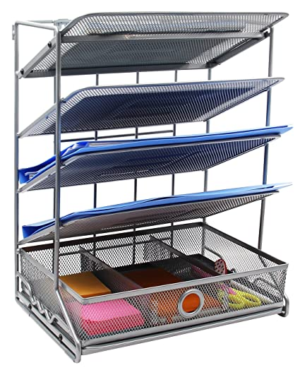 EasyPAG 4 Tier Assembly Desktop Wall Filer Holder + Desk Drawer Accessories Organizer, Silver