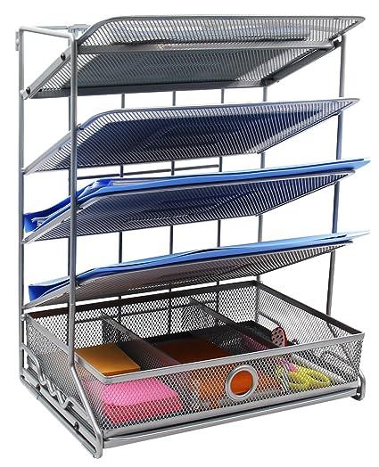 EasyPAG 4 Tier Assembly Desktop Wall Filer Holder + Desk Drawer Accessories Organizer, Silver