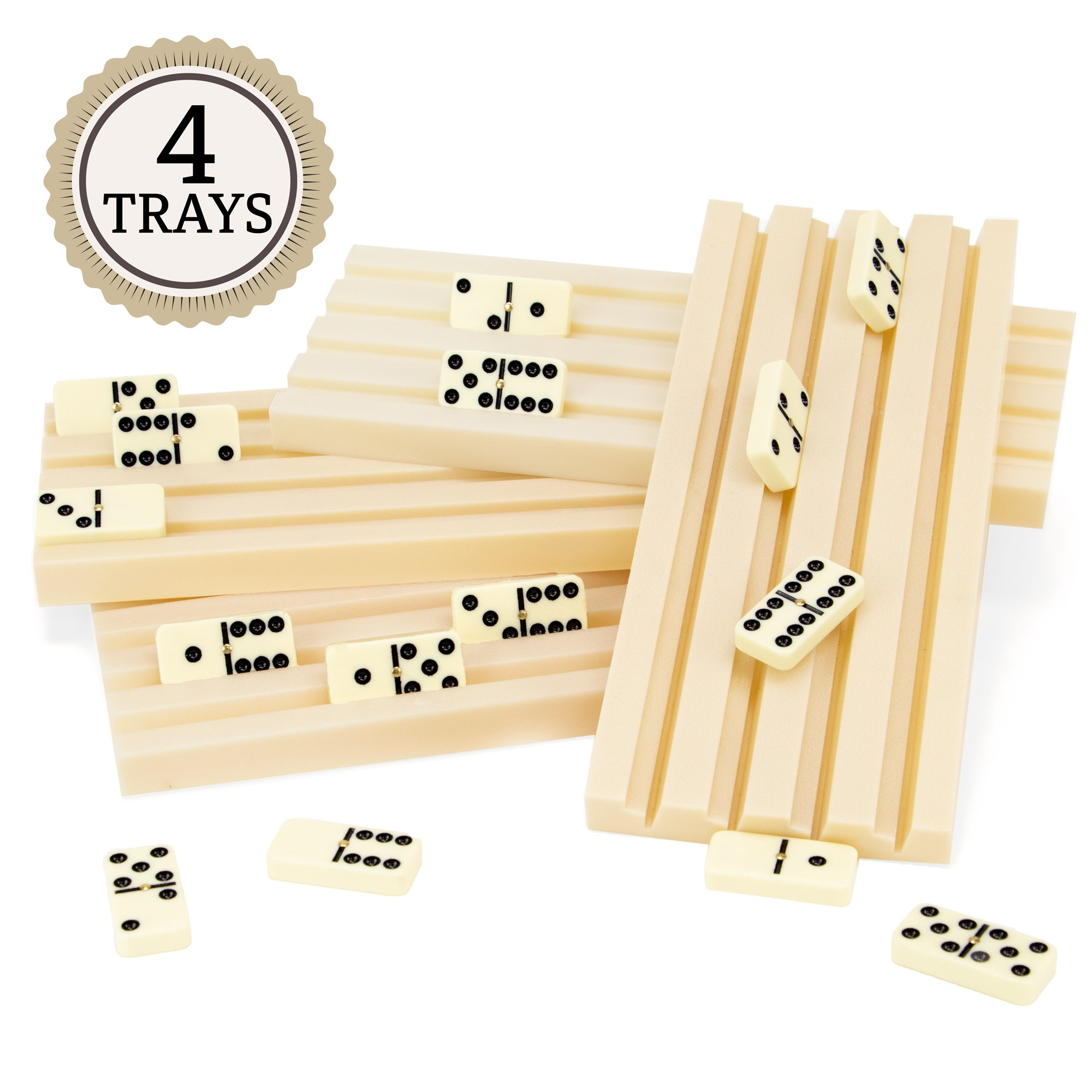 Brybelly Set of Four Plastic Domino Trays - Premium Holder Racks for Domino Tiles, Great for Mexican Train, Mahjong, Chickenfoot, Domino Games by Brybelly