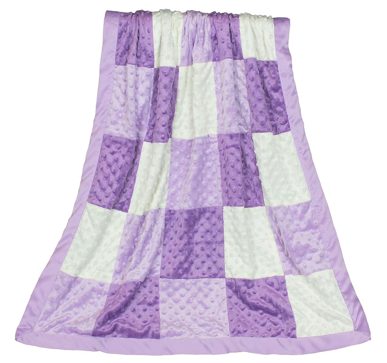 Zoe Purple Minky Dot Patchwork Blanket, Reverses to Lavender Satin Farallon Brands MBLPS-ZOE