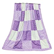 Zoe Purple Minky Dot Patchwork Blanket, Reverses to Lavender Satin