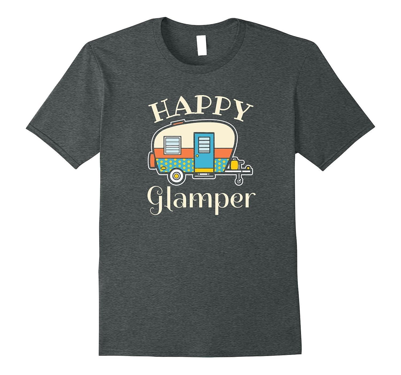 Happy Glamper - Womens Glamping Camping T-Shirt-CD