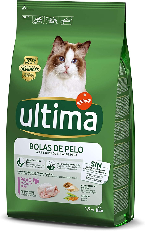 ultima Pienso para Gatos para Prevenir Bolas de Pelo, Sabor Pavo ...