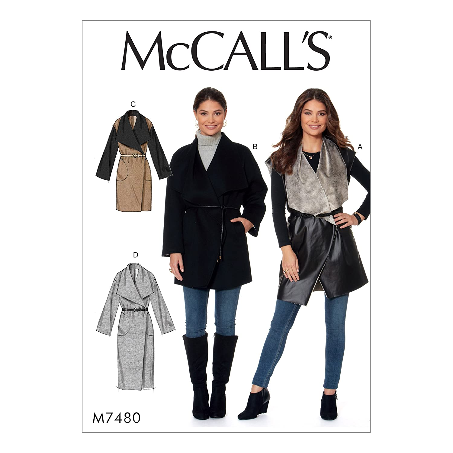 Amazon.com : McCalls 7480 (SIZE 4-14) Misses Shawl Collar, Wrap Vest and Coats : Sports & Outdoors